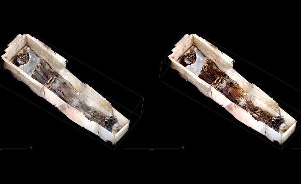 Albéric de Braine était enterré dans une tombe constituée de 5 pierres et d'une feuille de plomb au fond.