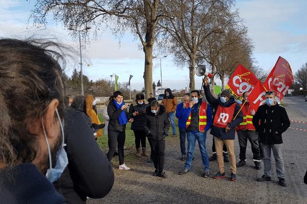 Débrayage sur le site du groupe Pierre Fabre à Muret (Haute-Garonne) ce vendredi 15 janvier 2021