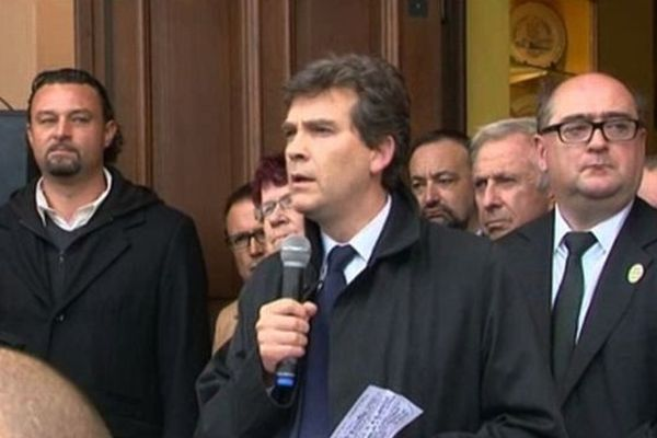 Arnaud Montebourg à Florange le 28/09/2012.