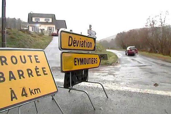 Route coupée entre Nedde et Eymoutiers