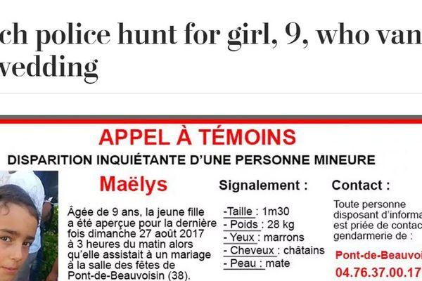Le journal américain, The Washington Post, a diffusé l'appel à témoins pour retrouver Maëlys.