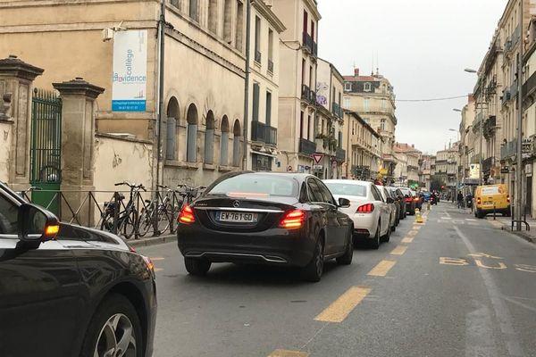 Opération escargot des chauffeurs de VTC dans le centre de Montpellier le 03 février 2021