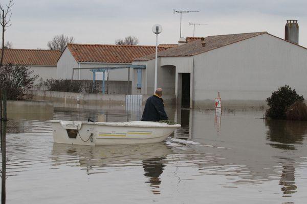 Images d'archives, la commune de La Faute-sur-Mer, février 2010 lors de la tempête Xynthia