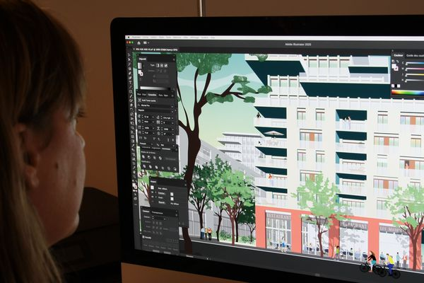 Contrairement à de nombreux architectes, Magali dessine à la main, sur sa tablette graphique, plutôt qu'en 3D.