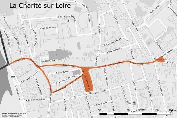 Le port du masque est obligatoire dans rues surlignées en orange