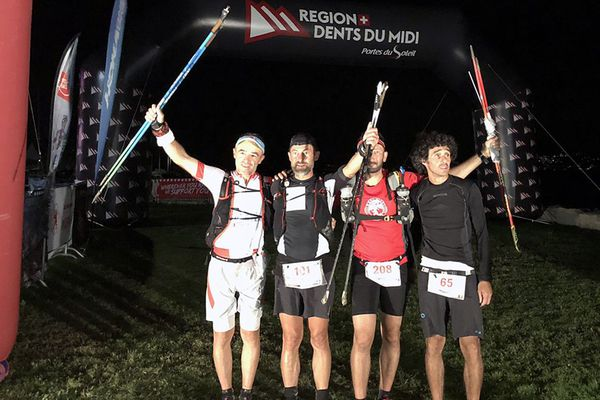 Denis Clerc (Hérault), Fred Gil (Gard), Jean-Pierre Soler (Gard) et Moustapha El Idrissi (Belgique) sont arrivés au terme de la course trail Swiss Peaks en 128 heures le 7 septembre 2018.