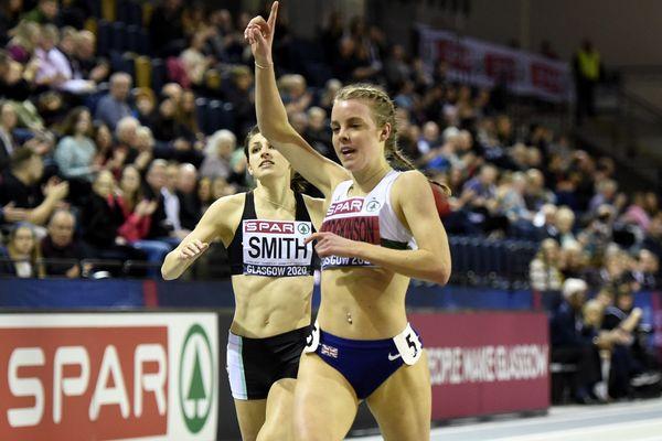 Keely Hodgkinson à l'Emirats Arena, Glasgow, le 23 février 2020.