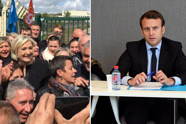 Marine Le Pen, en visite surprise auprès des salariés grévistes de Whirlpool, à Amiens (Somme), ce 26 avril 2017.