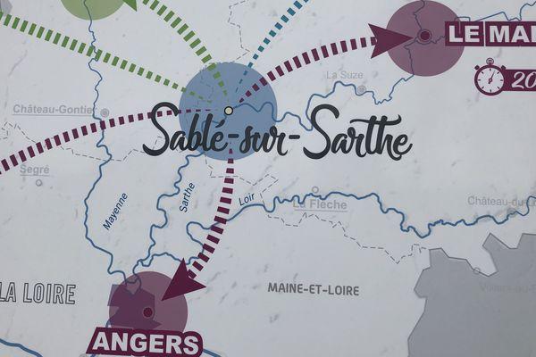 Plan de la virgule de Sablé-sur-Sarthe