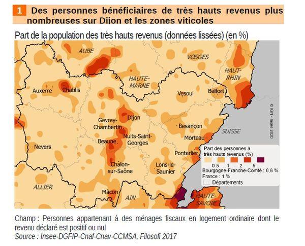 Les personnes disposant de très hauts revenus sont plus nombreuses sur Dijon et les zones viticoles