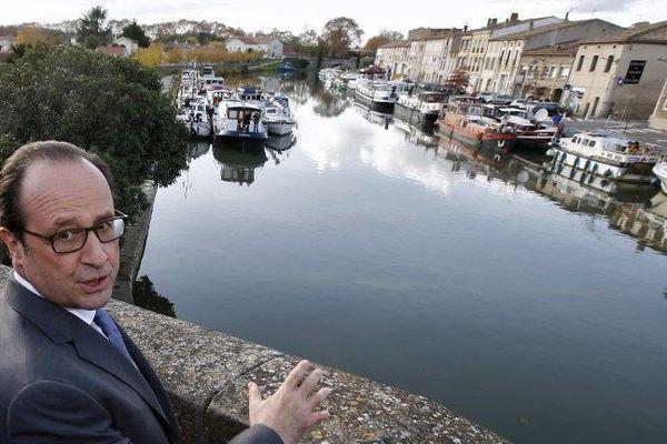 Le déplacement du président François Hollande dans l'Aude s'inscrivait dans le cadre du 350ème anniversaire du Canal du Midi.