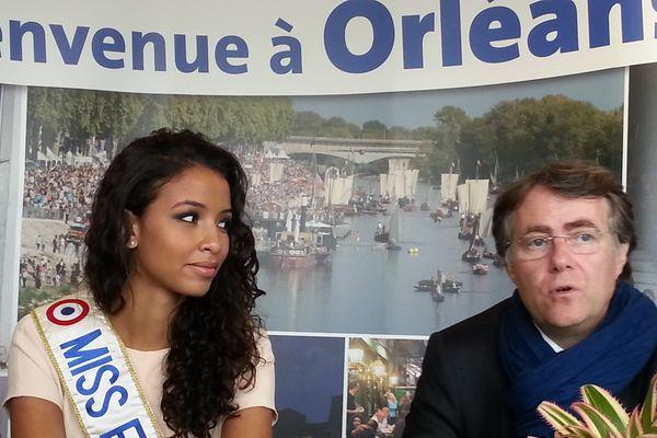 Flora Coquerel, Miss France 2014 et Serge Grouard, maire d'Orléans