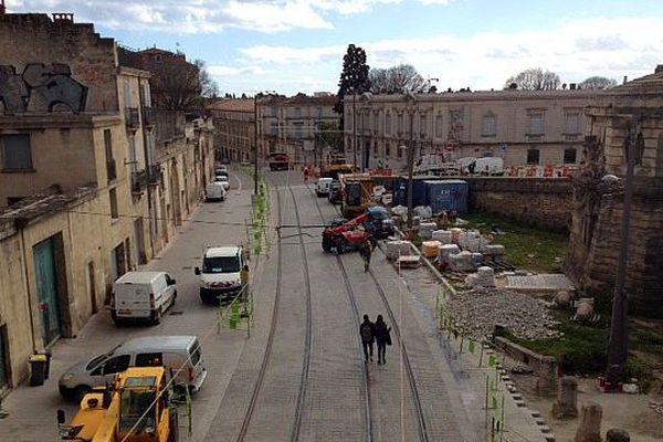 Montpellier - les travaux du tramway, bouclage de la ligne 4 - mars 2016.
