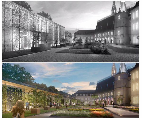 """En haut (et en gris), le projet """"Hénart"""" version 2016. En bas (et en couleurs), le projet """"Klein"""" version 2021."""
