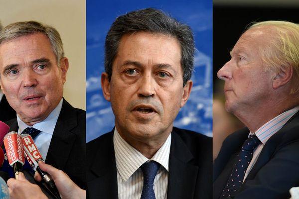 Le secrétaire général des Républicains Bernard Accoyer, le député du Rhône Georges Fenech et le vice-président de la Région Brice Hortefeux