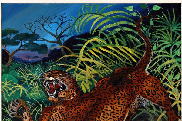 Antonio Ligabue - Leopardo nella foresta, olio su tavola di faesite, s.d. ( 1956-1957)