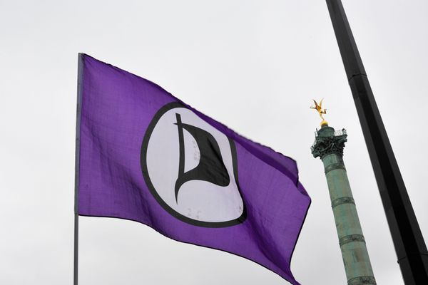 Le Parti pirate, mobilisé à Paris en 2012 contre les lois ACTA , SOPA et PIPA et après la fermeture du site internet Megaupload, dans une manifestation à l'initiative des Anonymous.