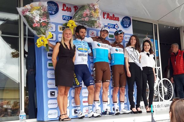 Alexis Gougeard, de l'Ag2r, sur le podium des boucles de l'Aulne