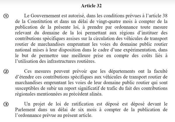 L'article 32 du projet de loi
