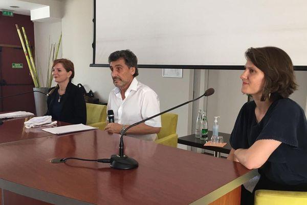 Clothilde Ollier, Mohed Altrad et Alenka Doulain présentent leur liste commune pour les municipales à Montpellier.