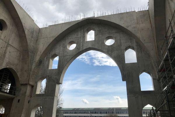 Le chantier de la mosquée turcophone Eyyub Sultan, dans le quartier de la Meinau à Strasbourg.