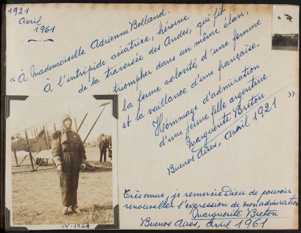 Courrier de félicitations adressé à Adrienne Bolland à l'occasion du 40e anniversaire de la traversée des Andes