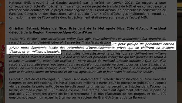 Le communiqué de Christian Estrosi, Président de la Métropole NCA dans lequel il pointe l'importance de la perte économique engendrée par ce recours.