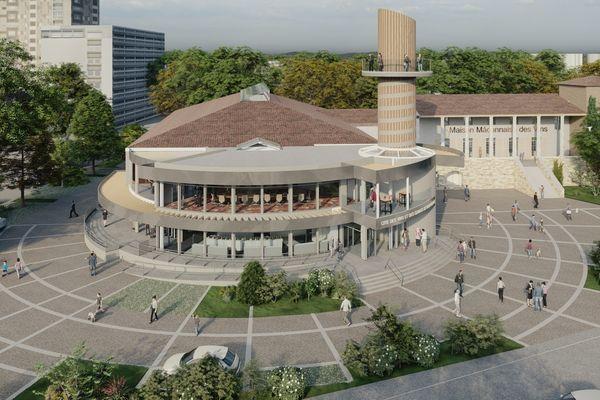 Le projet architectural du site mâconnais de la Cité des vins et des Climats de Bourgogne  reprend l'idée du vis à pressoir en bois.
