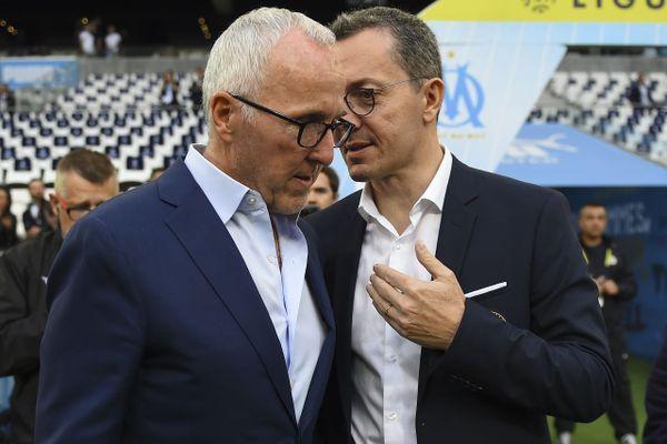 Archives. Le président de l'Olympique de Marseille Jacques-Henri Eyraud (D) avec le propriétaire de l'OM l'américain Frank McCourt.