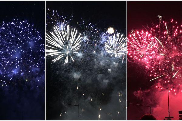 Montage tricolore des feux d'artifice lancés pour la Fête nationale à Strasbourg