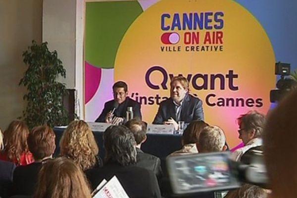 David Lisnard, maire LR de Cannes, et Eric Léandri, directeur de Qwant, lors de l'officialisation de l'implantation du moteur de recherche à Cannes