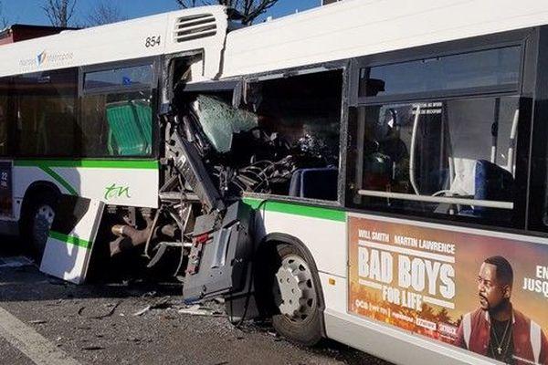 Trois bus impliqués dans un accident à Nantes, le 20 janvier 2020