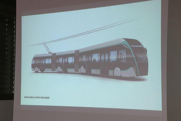 Esquisse du trolleybus qui remplacera à terme le tramway sur pneus de la ligne 1 à Nancy.