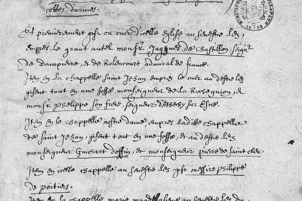 Extrait d'une note manuscrite décrivant l'emplacement des tombes des chevaliers d'Azincourt en l'abbatiale d'Auchy-lès-Hesdin.