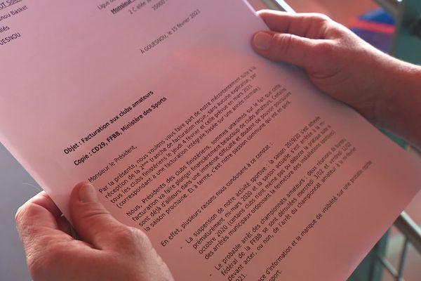 Le courrier adressé au comité du Finistère est co-signé par 54 clubs sur 56