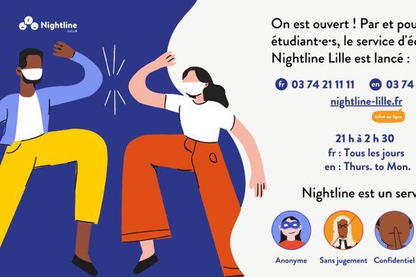 Nightline Lille propose un service d'écoute téléphonique et un chat aux étudiants.
