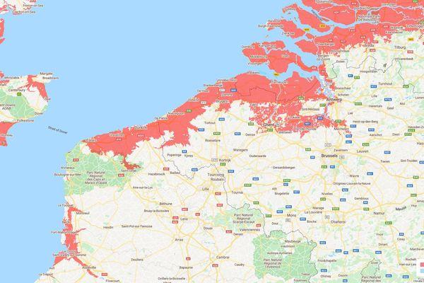 EN rouge, les zones potentiellement concernées dans le Nord Pas-de-Calkais