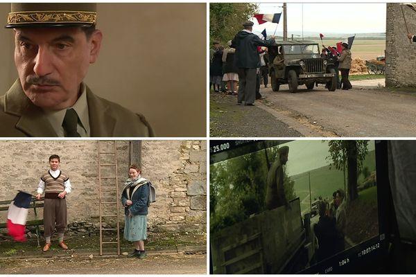 """Scènes sur le tournage de la série """"L'éclat et le secret"""" à Colombey-les-Deux-Eglises, qui porte sur l'histoire de Charles de Gaulle."""