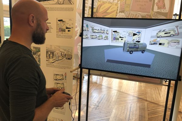 """Pour présenter le travail de Steven M. Johnson, K8 a également conçu une interface qui permet d'explorer le concept de """"pulmann"""" caricaturé par l'artiste californien."""