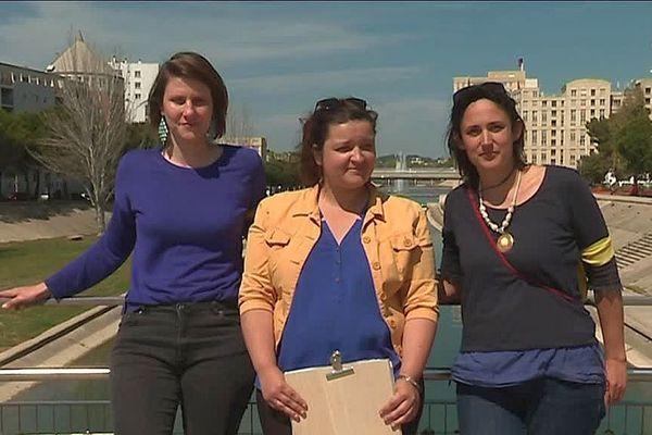 """Les 3 femmes de """"Nous sommes"""" Montpellier. De gauche à droite, Alenka Doulain, Margaux Bouvier et Cathy Aberdam."""