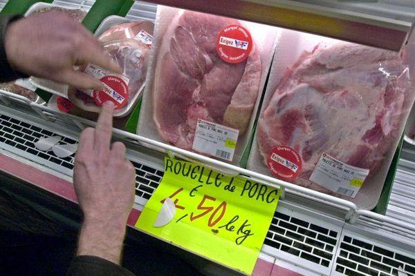 Action de producteurs de porcs, en grande surface, contre de la viande d'importation.