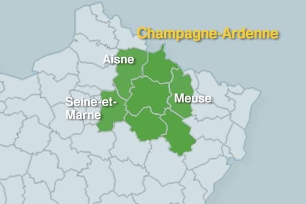 Proposition Région Champagne-Ardenne, avec intégration de l'Aisne, de la Meuse, de la Seine-et-Marne.