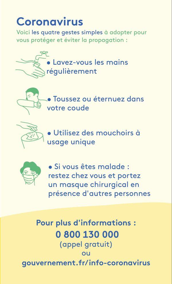 Voici les 4 gestes simples à adopter pour protéger et éviter la propagation du coronavirus. Plus d'informations au 0 800 130 000 ou gouvernement.fr/info-coronavirus