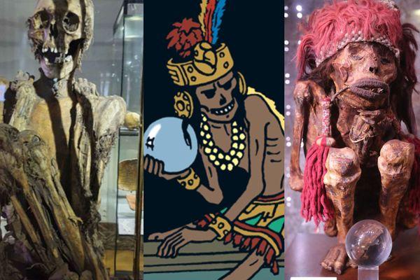 Au centre, Rascar Capac, personne de Tintin. A Gauche, une momie exposée au Musée d'Art et d'Histoire de Bruxelles. A droite, une momie exposée à Pairi Daiza