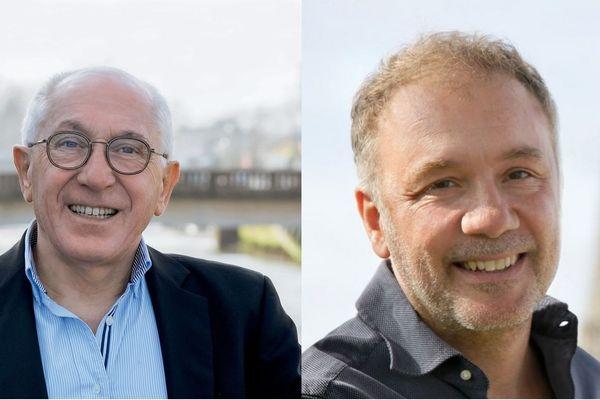 À Bayonne, le second tour sera un duel entre Jean-René Etchegaray (à gauche), le maire sortant, et Henri Etcheto (à droite), de Bayonne Ville Ouverte.