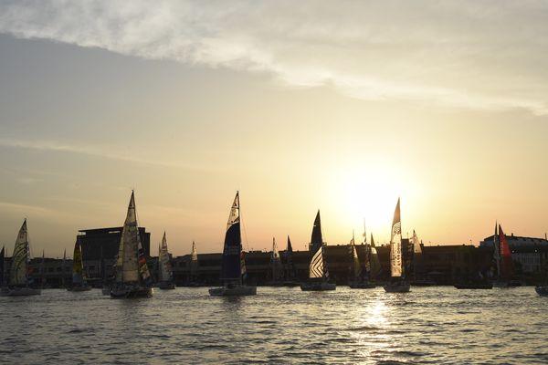 Les voiliers de la Solitaire du Figaro, sur la Garonne