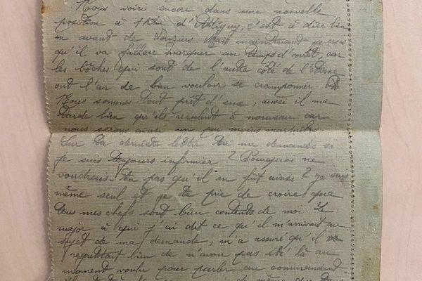 Lettre d'un fils Coulonge à sa mère en octobre 1918