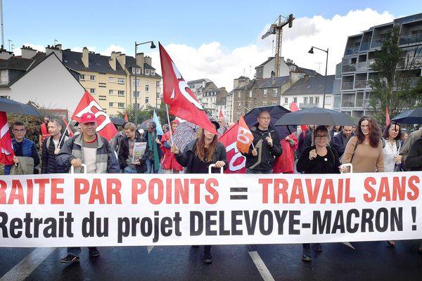 Manifestation contre le projet de retraite du gouvernement Macron à Rennes le 24 septembre 2019