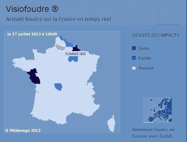 Météorage, filiale de Météo-France: une mine d'information sur l'activité orageuse en France. La Marne et les Ardennes apparaissent ce samedi 27 Juillet 2013 parmi les départements les plus touchés par la foudre.