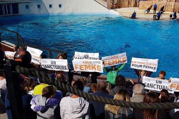 L'action surprise et silencieuse des militants One Voice, au Parc Astérix, samedi 1er septembre.